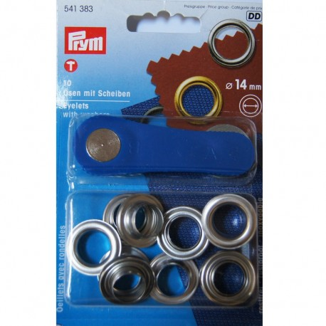 10 eyelets with washers 14mm + tool - silver