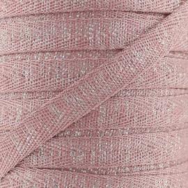 Ruban sergé lurex Candy 9 mm - vieux rose/argent x 1m