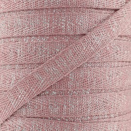 Twill lurex Candy 9 mm - old pink/silver x 1m