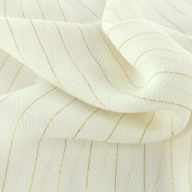 ♥ Coupon tissu 20 cm X 140 cm ♥ Crêpe Fancy - blanc/doré