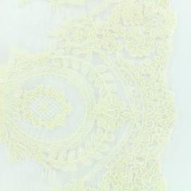 Tissu dentelle brodée Fleur Deluxe - écru x 10cm