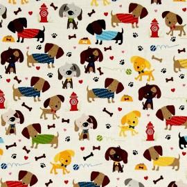 Tissu coton Rover Dogs - cream x 10cm