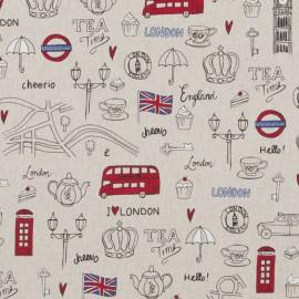 Tissu toile coton aspect lin - London City x 64cm
