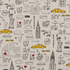 Tissu toile coton aspect lin - New York City x 64cm