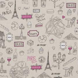 Tissu toile coton aspect lin - Paris x 64cm