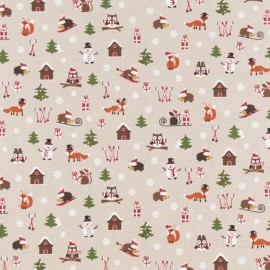 Tissu toile coton aspect lin - Christmas time x 20cm