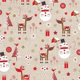Tissu toile coton aspect lin - Shiny Christmas x 32cm