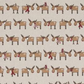 Tissu toile coton aspect lin - Reindeer x 64cm