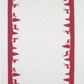 Tissu toile coton aspect lin Xmas - rouge x 64cm