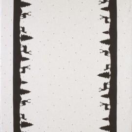 Cotton canvas linen look fabric Xmas - black x 64cm