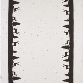 Tissu toile coton aspect lin Xmas - noir x 64cm