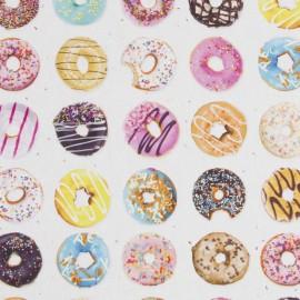 Tissu toile coton impression digitale - Donuts x 64cm