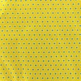 Tissu coton crétonne Saki - jaune x 10cm
