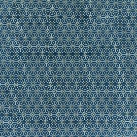 Tissu coton crétonne Saki - pétrole x 10cm
