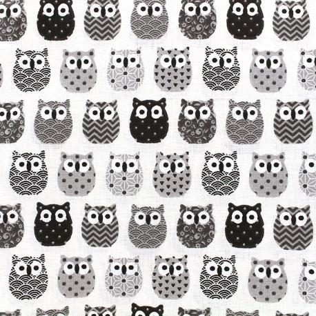 Tissu coton crétonne Mini Hiboux - noir/blanc x 10cm