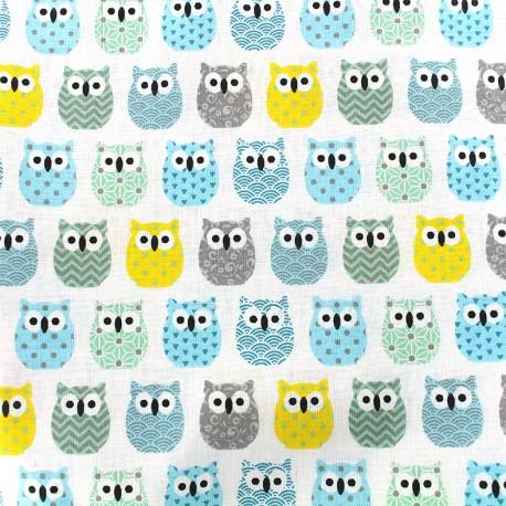 Tissu coton crétonne Mini Hiboux - gris/bleu x 10cm