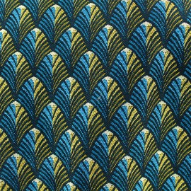 Woven jacquard canvas Gatsby - teal/gold x 10cm