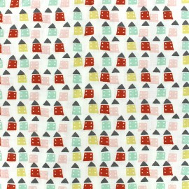 Cotton fabric Oeko-tex Bicolo - pink/red/mint x 10cm