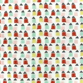 Tissu coton Oeko-tex Bicolo - rose/rouge/menthe x 10cm