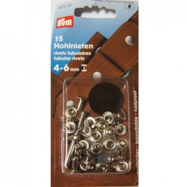 15 tubular Rivets for fabrics 4-6mm thick - silver