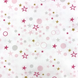 Cotton fabric Oeko-tex Celo - pink/grey x 10cm