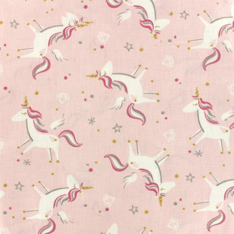 Cotton fabric Oeko-tex Licorne - powder pink x 10cm