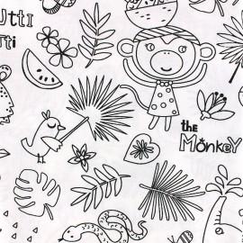 Cotton fabric Oeko-tex to color Tropik - black/white x 10cm