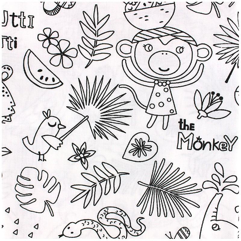 225a68b5cdf Cotton fabric Oeko-tex to color Tropik - black/white x 30cm - Ma ...