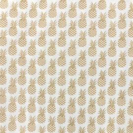 Tissu coton Oeko-tex Ananas - doré x 10cm