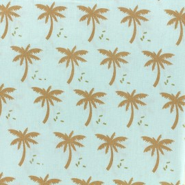Cotton fabric Oeko-tex Palmeraie - céladon/golden x 10cm