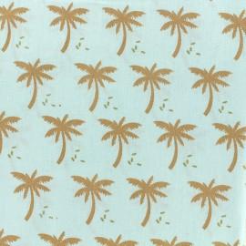 Tissu coton Oeko-tex Palmeraie - céladon/doré x 10cm