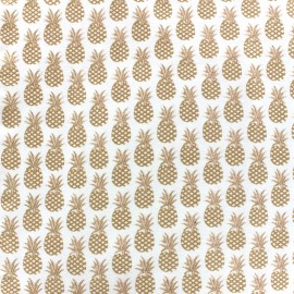 Poppy jersey fabric Ananas - gold x 10cm