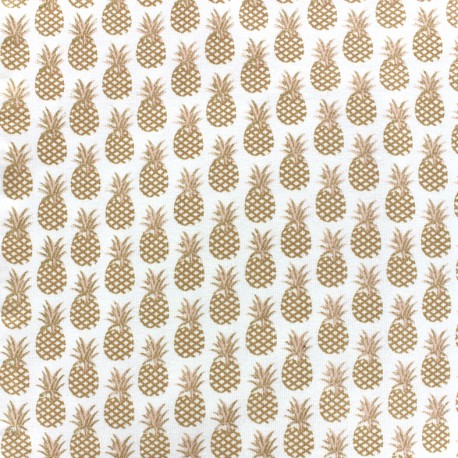 Tissu Oeko-Tex jersey Ananas - doré x 10cm