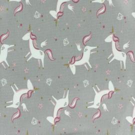 Poppy jersey fabric Licorne - pale grey x 10cm
