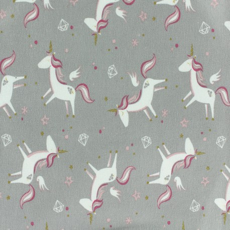 Poppy jersey Oeko-tex fabric Licorne - pale grey x 10cm