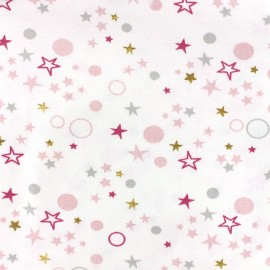 Poppy jersey fabric Celo - pink/grey x 10cm