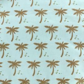 Tissu jersey Palmeraie - céladon/doré x 10cm