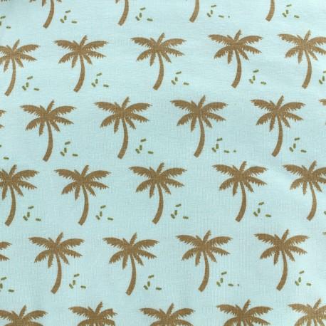 Poppy jersey Oeko-tex fabric Palmeraie - celadon/gold x 10cm
