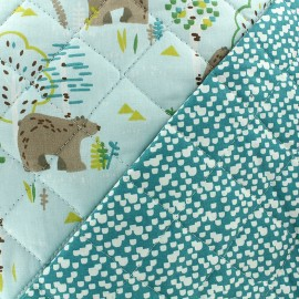Quilted cotton fabric Connor/Shelley - sky/green x 10cm