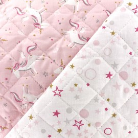 Tissu Oeko-Tex matelassé Licorne/celo - rose/gris x 10cm