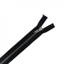 Brass metal open end  zipper - black