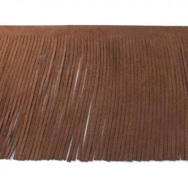 Suede fringe ribbon 12cm - light brown x 50cm