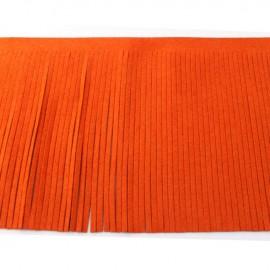 Suede fringe ribbon 12cm - orange x 50cm