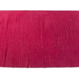 Suede fringe ribbon 12cm - dark fuchsia x 50cm