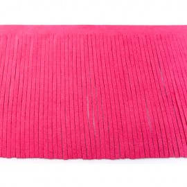 Suede fringe ribbon 12cm - fuchsia x 50cm
