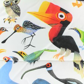 ♥ Coupon 100 cm X 150 cm ♥ Nylon quilted lining fabric Birds - white