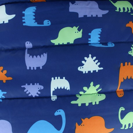 Nylon quilted lining fabric Dino - navy x 35cm
