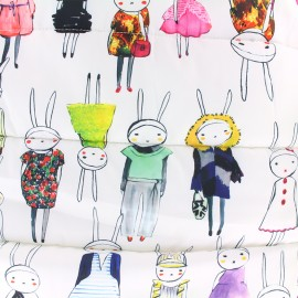 Nylon quilted lining fabric Bunny - white x 54cm