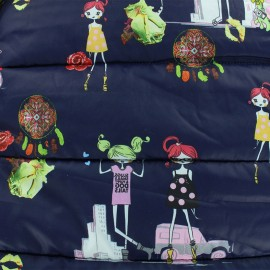 ♥ Coupon 40 cm X 150 cm ♥ Nylon quilted lining fabric Ladies - navy