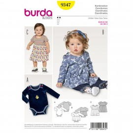 Dress with Bodysuit –  Bodysuit – Crotch Fastening  Burda Sewing Pattern N°9347